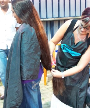 Asha Durwan donates a part of her ponytail! wow