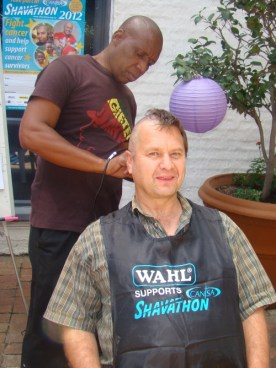 Half bald at Ogilvy JHB Shavathon 2012