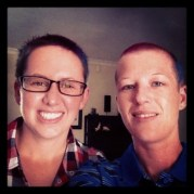 Yolande Lindeque and friend shaved for Shavathon