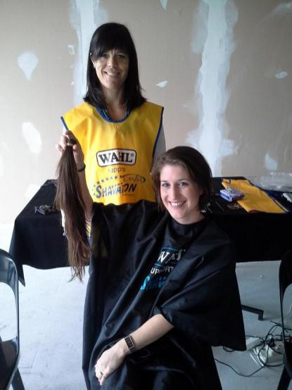 First lady to go short at the George Herald corporate Shavathon 04