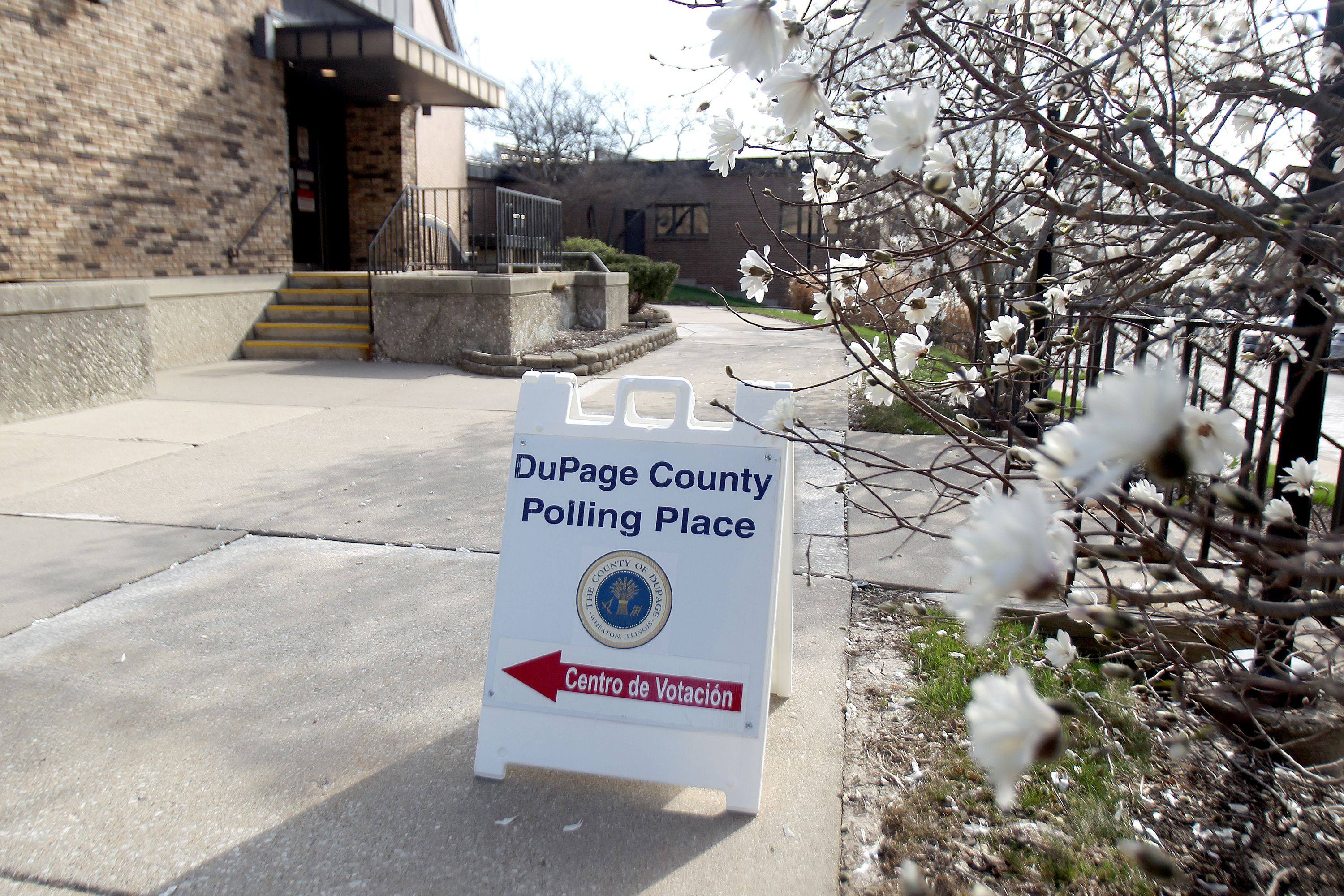 The Downers Grove Village Hall polling place on Tuesday, April 6, 2021.