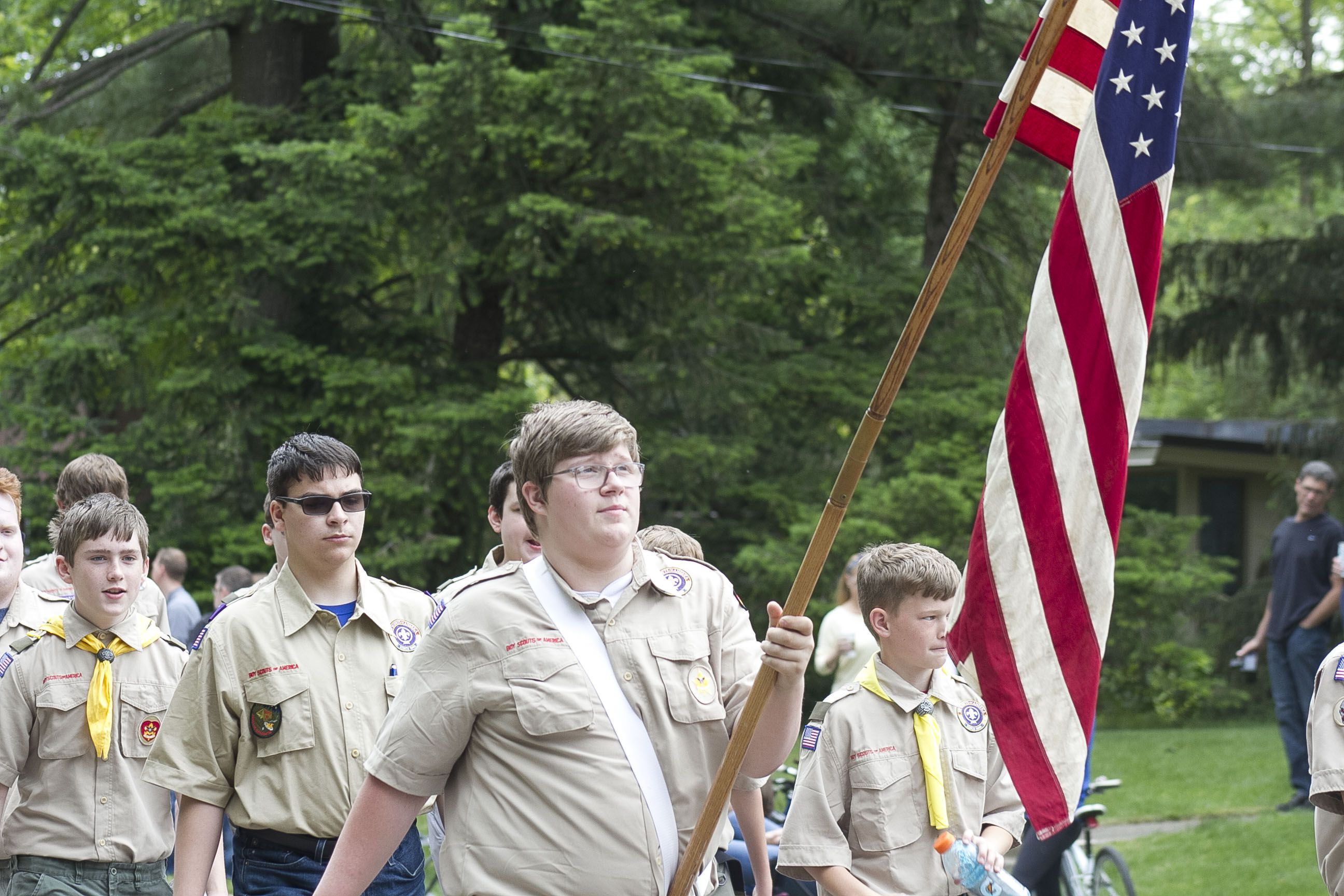 Local Girl Scout and Boy Scout troops participated in Oswego's annual Memorial Day parade, ending in a ceremony at Oswego Township Ceremony led by the Oswego American Legion Post 675.