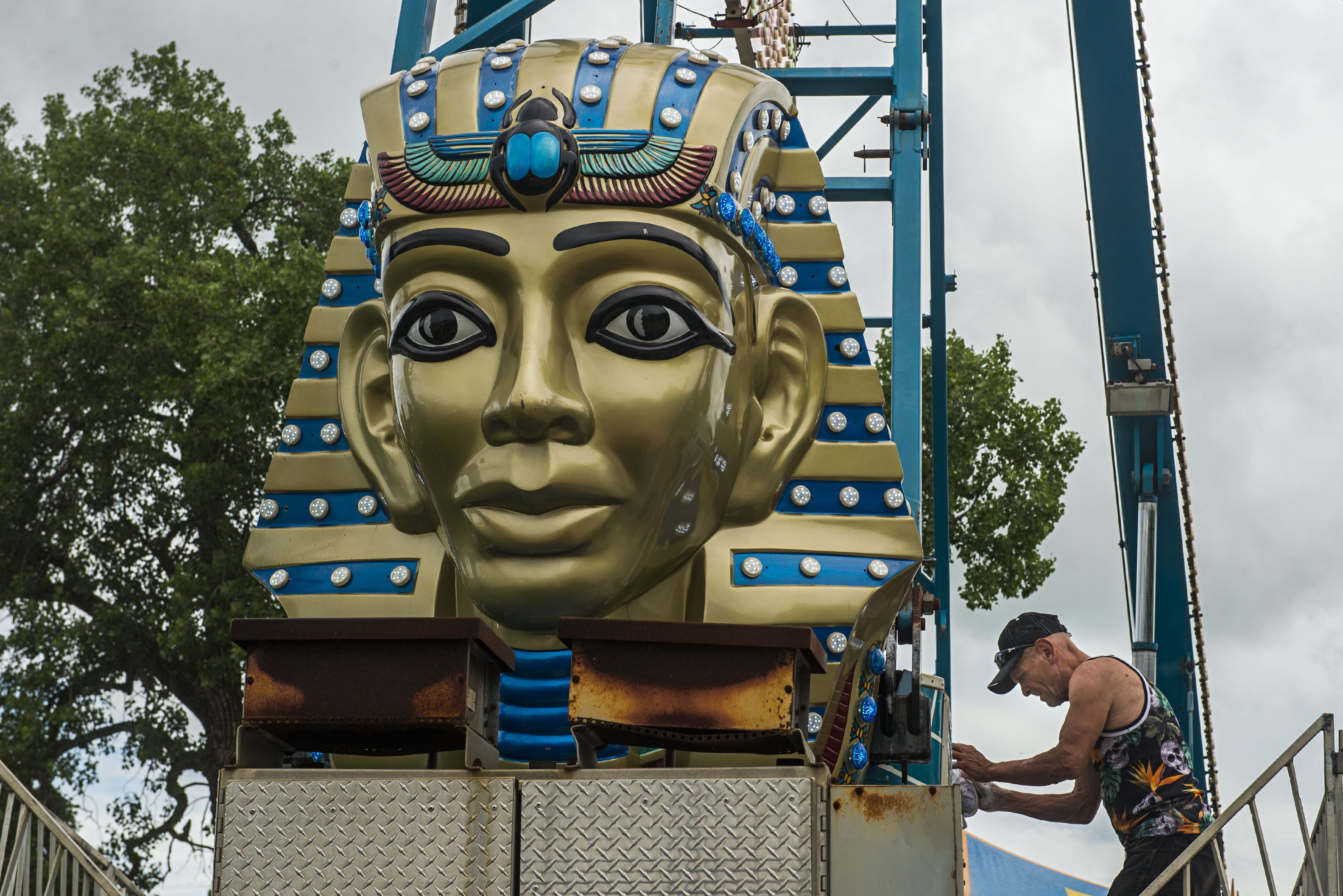 Pharoah's Fury gets a scrub down Tuesday afternoon ahead of the opening on Thursday in DIxon.