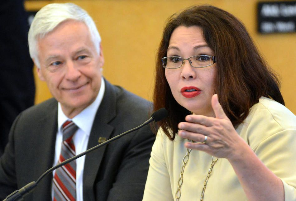 U.S. Sen. Tammy Duckworth, then a congresswoman, speaks alongside then-Assistant Secretary of Labor for Veterans Employment and Training Michael H. Michaud, during a workshop on improving veterans services Tuesday, June 21, 2016, in Elmhurst.