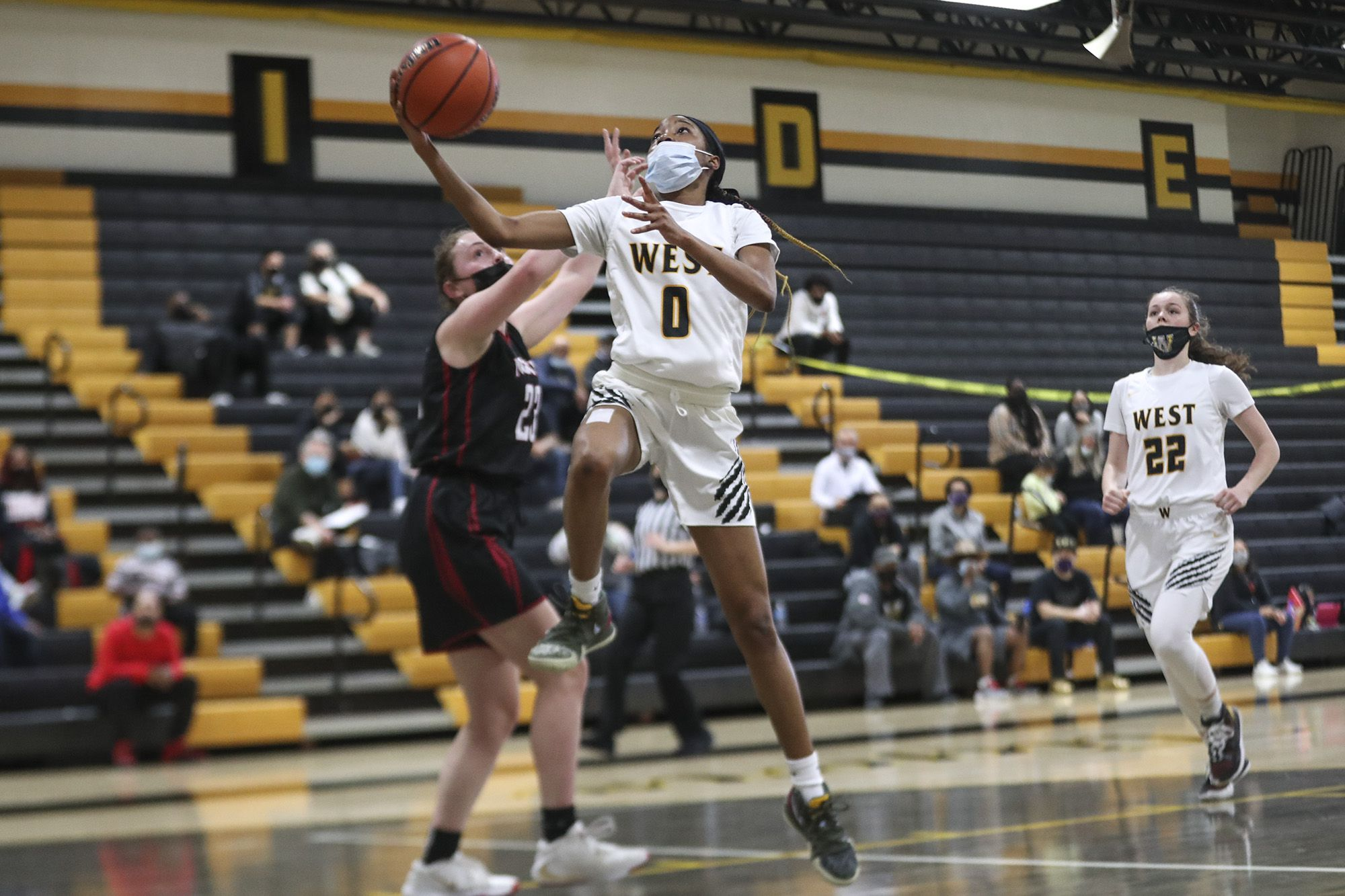 Joliet West's Lisa Thompson makes a layup on Saturday, March 13, 2021, at Joliet West High School in Joliet, Ill.