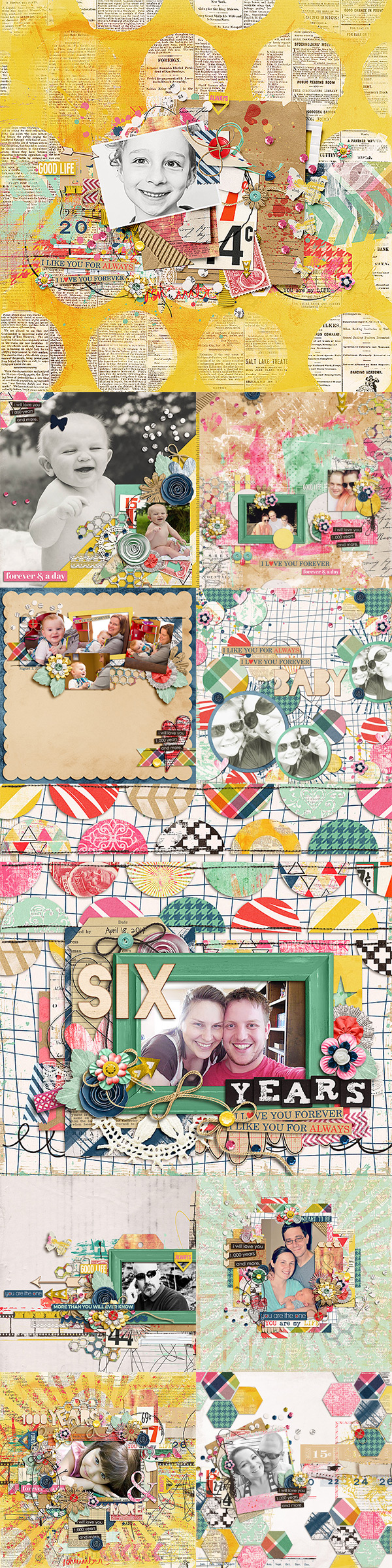 Layouts using A Thousand Years by Shawna Clingerman and Studio Basic