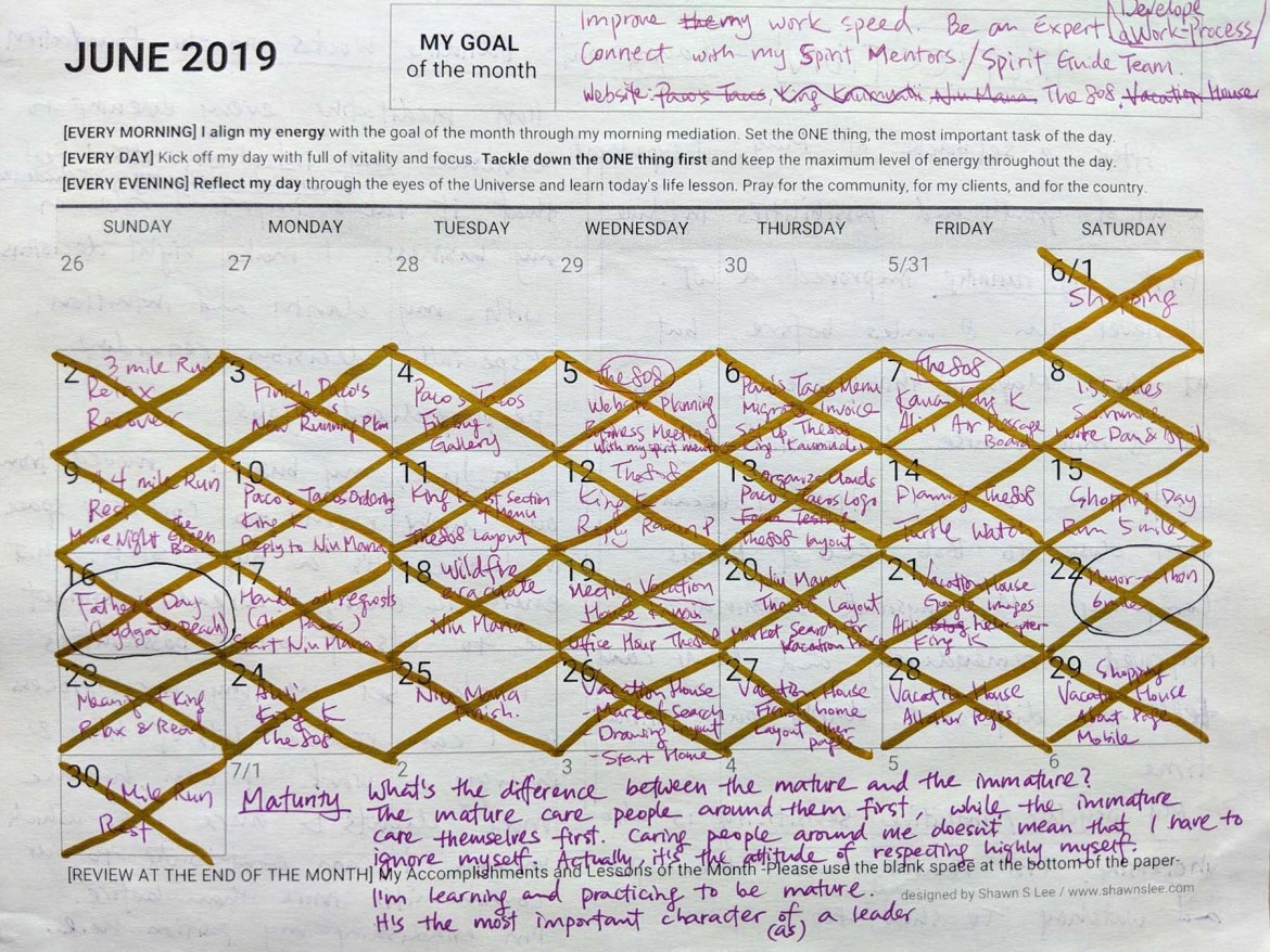 Planner for July and Reflection on June 2019