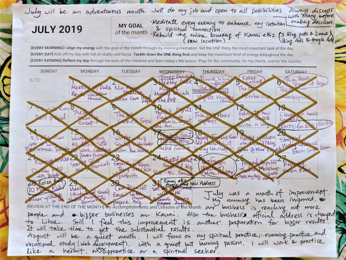 Reflection on July Planner for August 2019