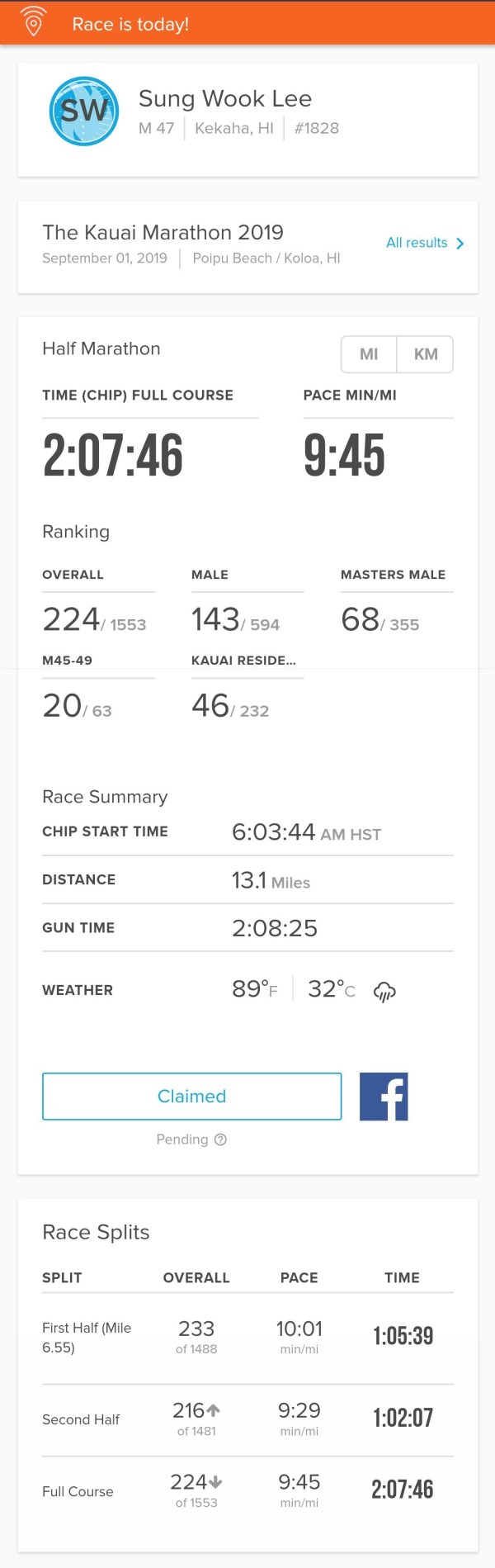 Kauai Half Marathon 2019 record Shawn S Lee