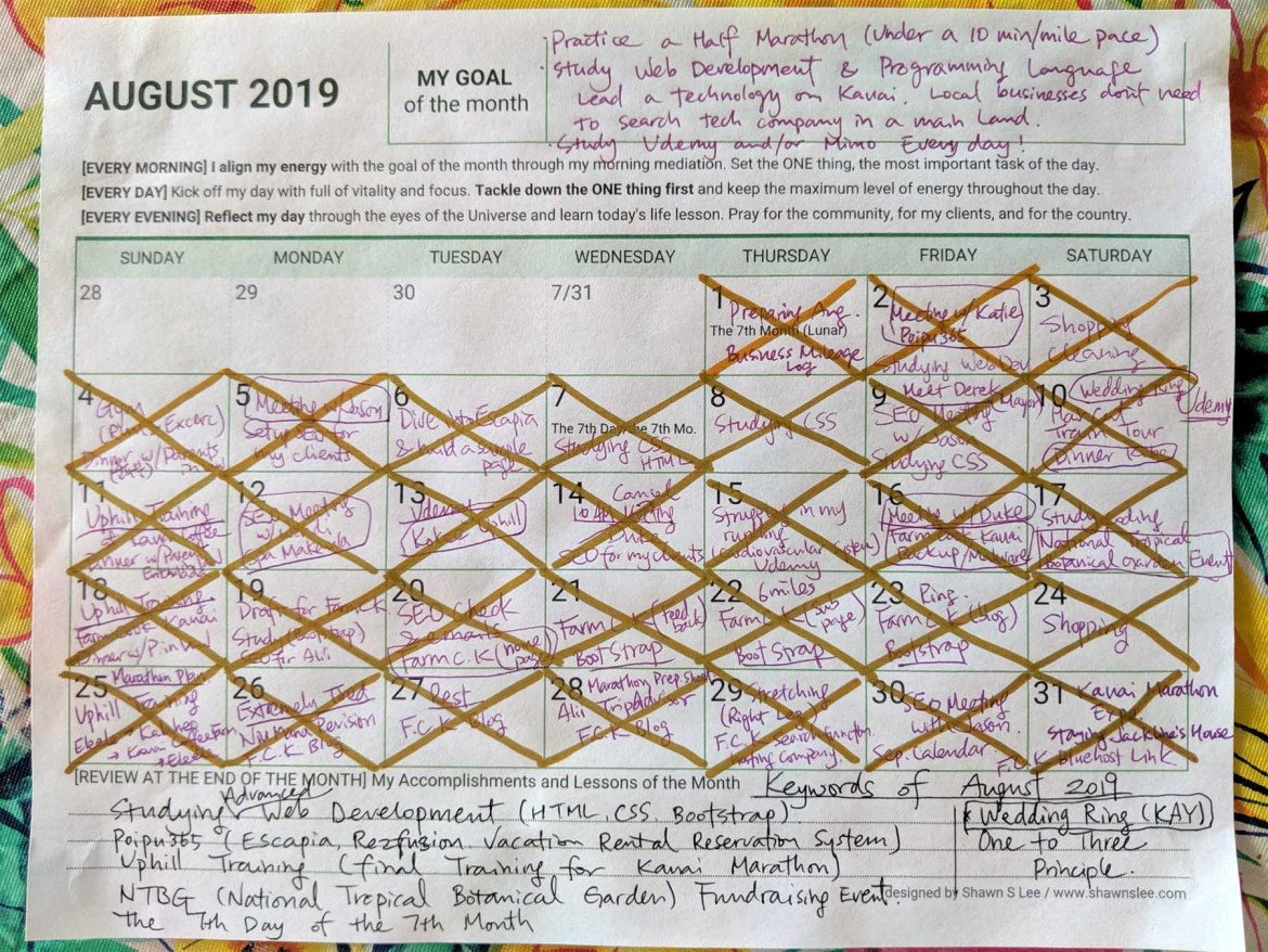 Reflection on August Planner for September 2019
