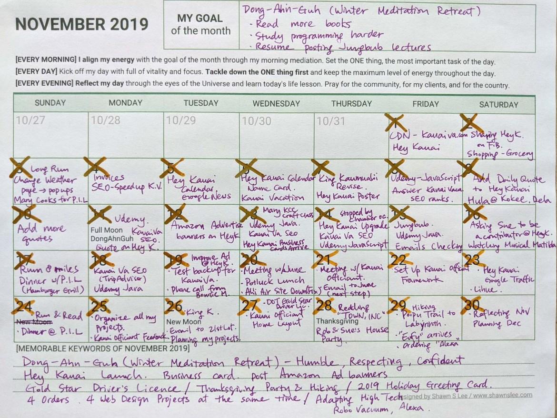 November Reflection and December Planner 2019