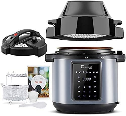 MICHELANGELO 6 QT Pressure Cooker Air Fryer Combo, All-in-1 Pressure Cooker with Air Fryer – Two Detachable Lids for Pressure Cooker, Pressure Fryer, Air Fryer, Rice,Slow Cooker,Steamer & Warmer – 6 Quart