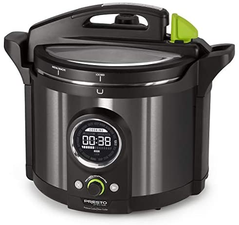 National Presto 02143 Presto Precise 10-Quart Multi-use Programmable Plus Electric Pressure Cooker, Black Stainless Steel