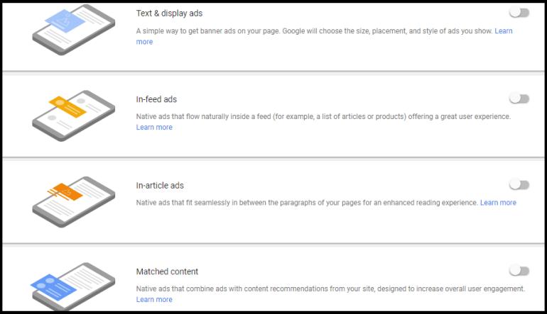 Google auto ads Step 3