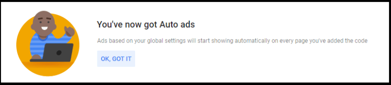 Google auto ads starts showing on website