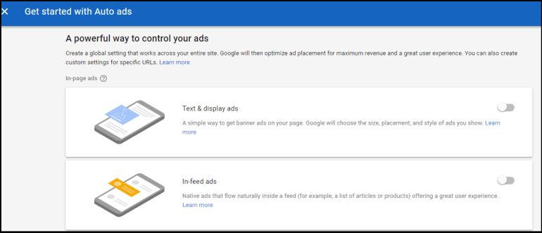 Google auto ads step 2