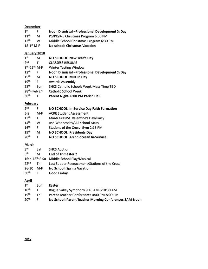 Key Dates Calendar Sacred Heart Catholic School