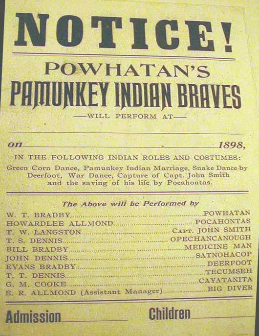 """1898 playbill for traveling show by """"Powhatan's Pamunkey Indian Braves"""""""