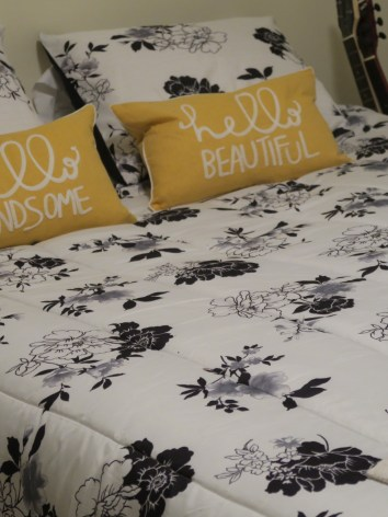 weekends, redecorate, home decor, yellow and black bedding