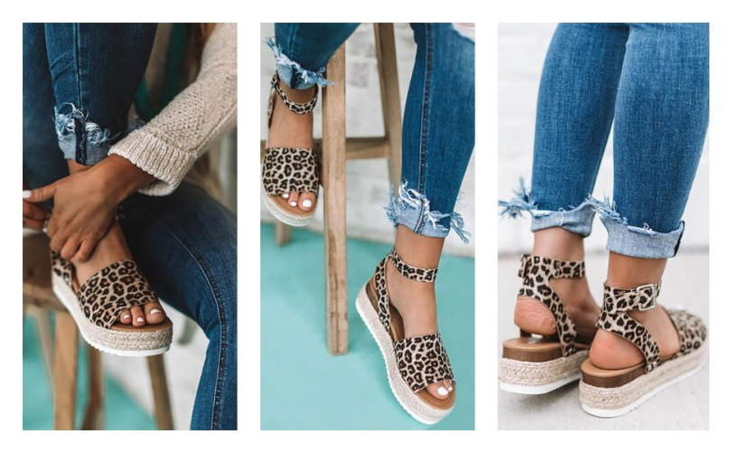 Leather Studded Wedge Summer Sandals
