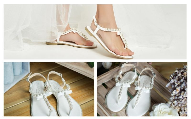 #5 Pearl T-Strap Bridal White Flat Sandals
