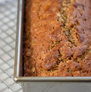 banana oat bread loaf in a pan