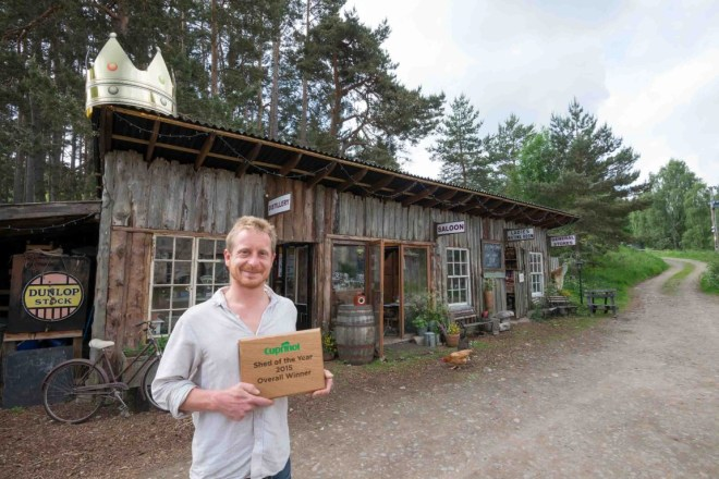 The Inshriach Distillery owned by Walter Micklethwait, 36, from Aviemore in Scotland has been crowned '2015 Shed of the Year' in the annual competition sponsored by Cuprinol. Revealed by George Clarke during the final episode of Channel 4's 'Amazing Spaces Shed of the Year', Walter beat eight other finalists to the title and took home £1,000 courtesy of sponsors Cuprinol.