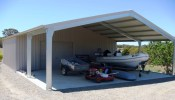 Shed Boss Garaport 12Lx9Wx2.4H - plenty of room for the boat and trailer.