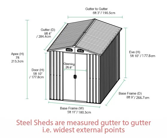 6ft x 9ft Steel Shed Dimensions in feet and inches and also in cms