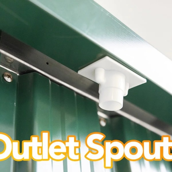 Outlet Spouts on the steel shed