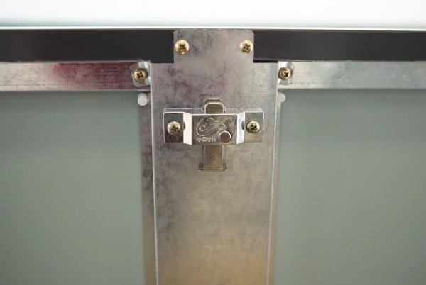 A close up shot of the detail on the Steel Bin Store's lock