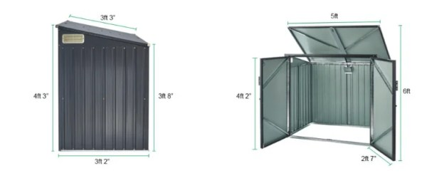 Bin Store Dimensions including door opening size, high point and low point and lifting lid.