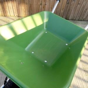 The indeide of the wheelbarrows bucket