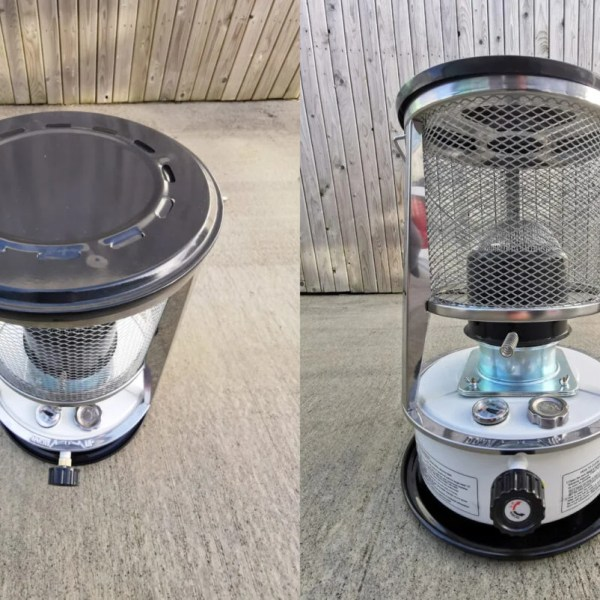 two images of the heater side by side. One on the left is taken from above, it shows the grooves and indents on the metal lid on which you can cook. The image on the right is a wide angled view of the heater from a low angle.