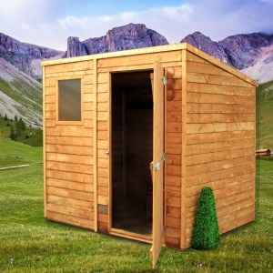 Cabin Wooden Shed with a window in the front and a door swinging open