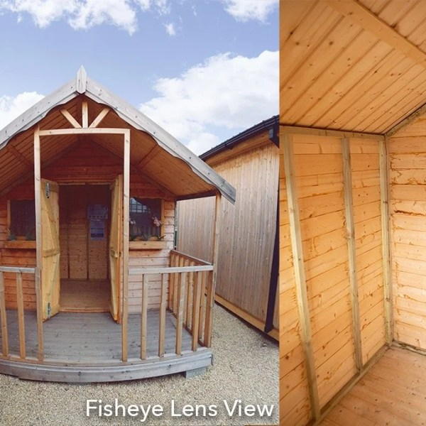 Fisheye view of a CHALET DIPTYCH WITH INTERNAL AND EXTERNAL VIEW COMBINED