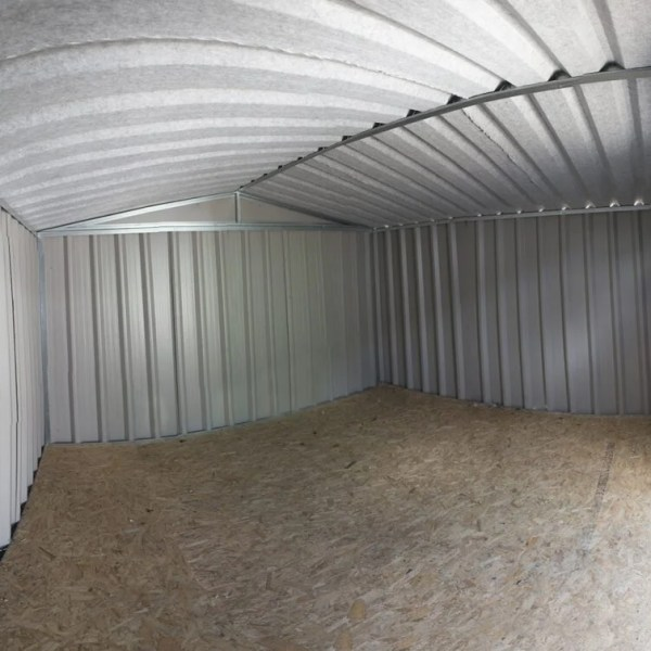 A fisheye angle view of the inside of a PVC Cladded Shed