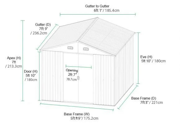 Steel Shed Dimensions in ft and inches and also in cms