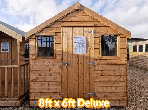 The 8 foot by 6 foot standard wooden shed with deluxe, untreated wood