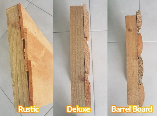 Wood Types lined up against each other. On top is the rustic wood, in the middle is the deluxe wood and on the bottom is the barrel board wood.