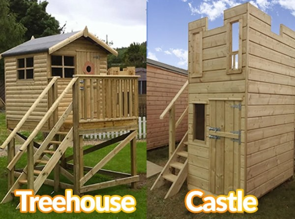 A wooden tree house and a wooden childrens castle next to each other