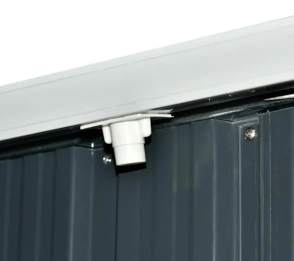 The Gutters and Outlet Spout on the 4x6 Steel Shed. They are light grey and the sheet metal beneath is dark grey