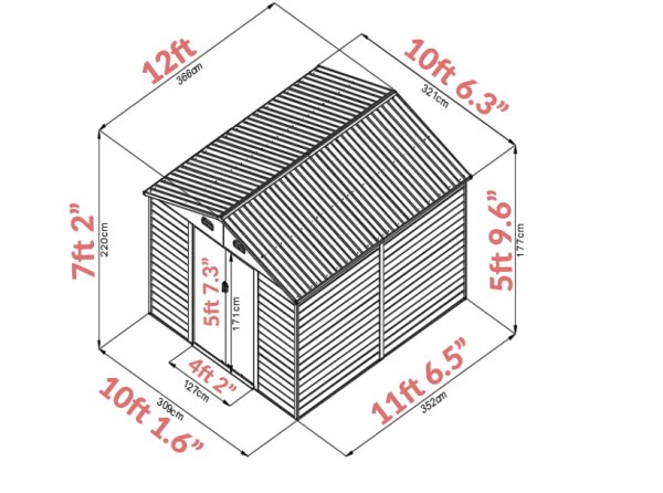 A graphic showing the dimensions of the 10ft x 12ft woodgrain shed. It's 10 foot 1.6 inches wide, 11 foot 6.5 inches long and 7ft tall.