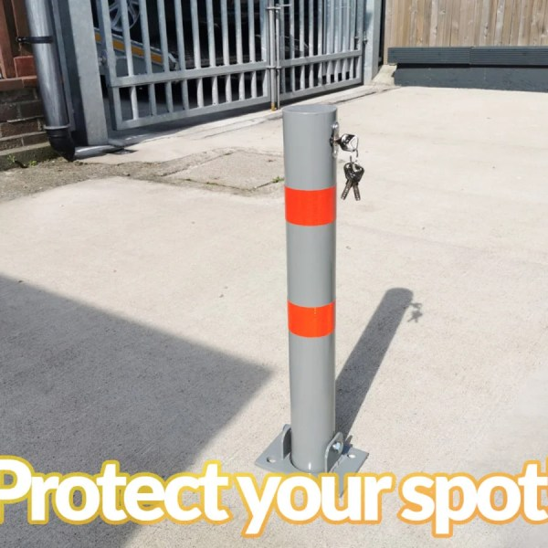 "The Parking Pole as seen from the side, with the keys hanging out of the keyhole. It reads ""Protect your spot!' underneath the image."