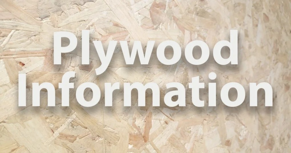 a macro picture of a plywood floor with the text 'plywood information' photoshopped on top of it. The wood is a pale brown and it's the chipped variery of plywood.