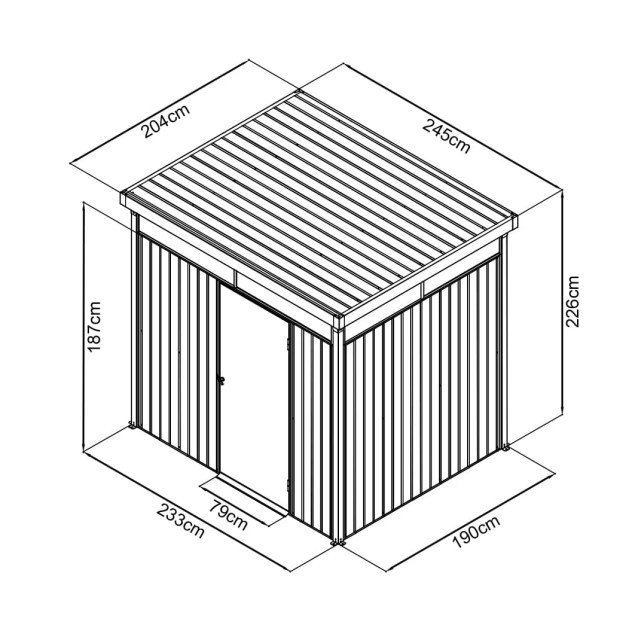 A technical drawing of the premium panoramix shed, showing all dimensions