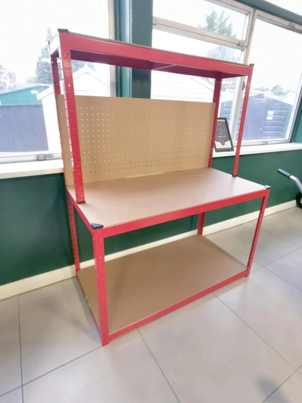 A side-view of the work bench in the sheds direct ireland showroom