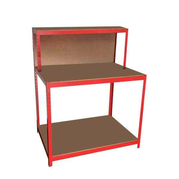 The red work bench from Sheds Direct Ireland. It is bright red in the frame and the OSB board for the shelves is a dark brown. There are indented ports in the metal which cast a darker red shadow into them. There are three shelves. The low one is only centimeters above the floor. The middle one is halfway up between the bottom and top one and it's the same depth as the bottom one. The top shelf is only half the depth as the other two shelves. It has peg board in between the top and middle shelves