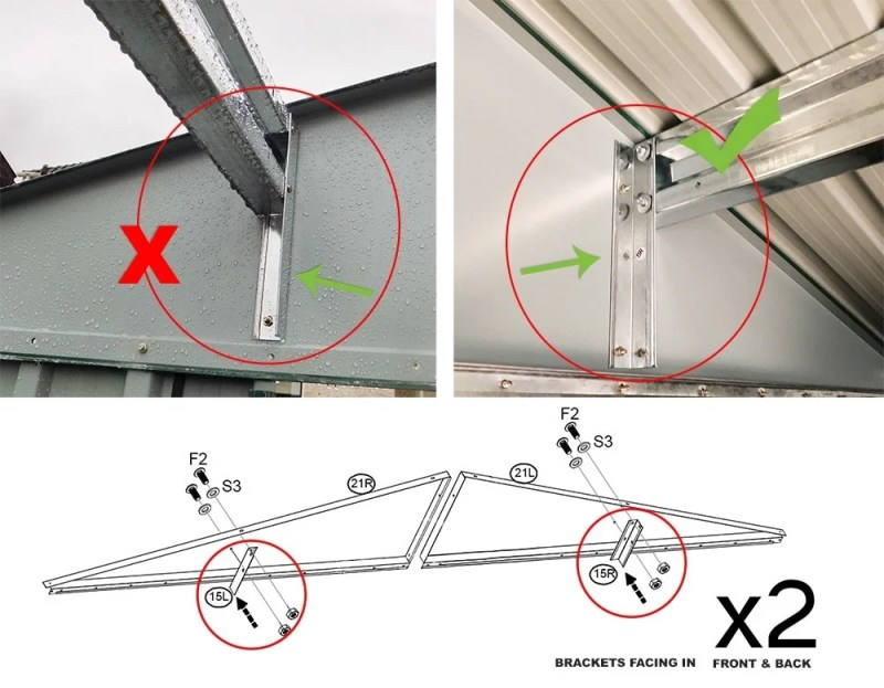 the internal roof brackets are shown facing in the wrong direction on the left and facing 'inwards' i.e. the right direction on the right.