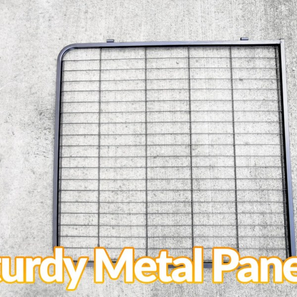 Sturdy Metal Panels of the dog pen on a concrete ground